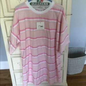 NWT MISSGUIDED pink striped t shirt dress